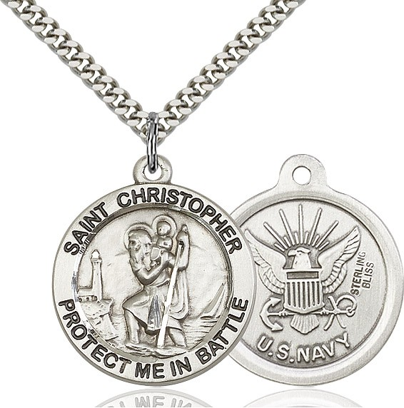 Protect Me In Battle Round St. Christopher Navy Necklace - Sterling Silver