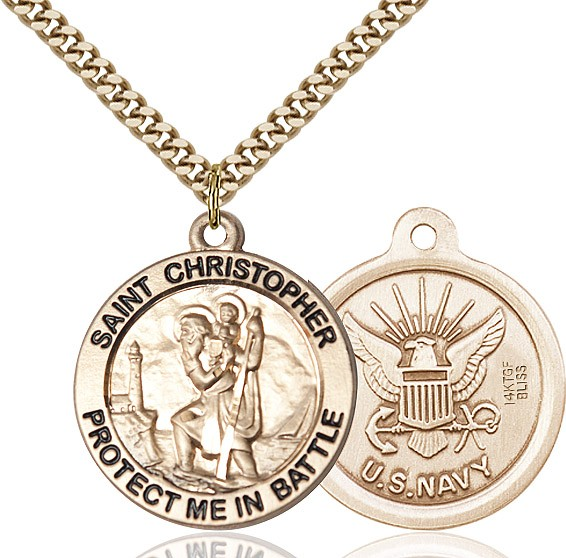 Protect Me In Battle Round St. Christopher Navy Necklace - 14KT Gold Filled