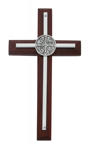RCIA Cherry Stained Wall Cross 7 Inches - Cherry Wood