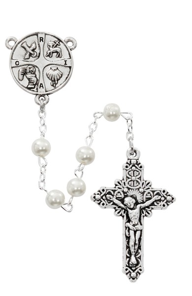 RCIA Rosary with White Glass Beads - White