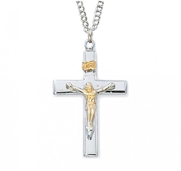 Women's Raised Crucifix Medal Two Tone - Two-Tone Silver