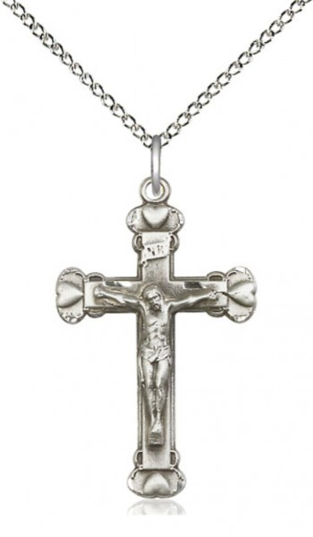 Raised Hearts Crucifix Necklace - Sterling Silver