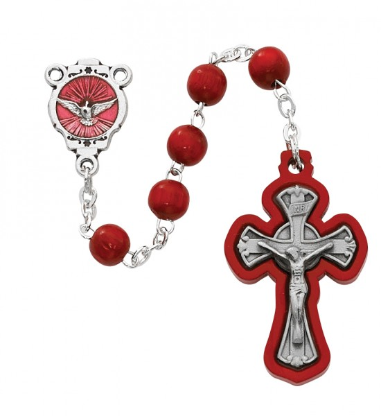 Red Wood Confirmation Rosary 6mm - Red | Silver