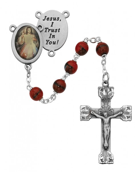 Red and Black Divine Mercy Rosary - Red
