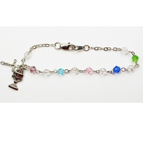 Rhodium First Communion Bracelet with Tin Cut Crystals - Multi-Color