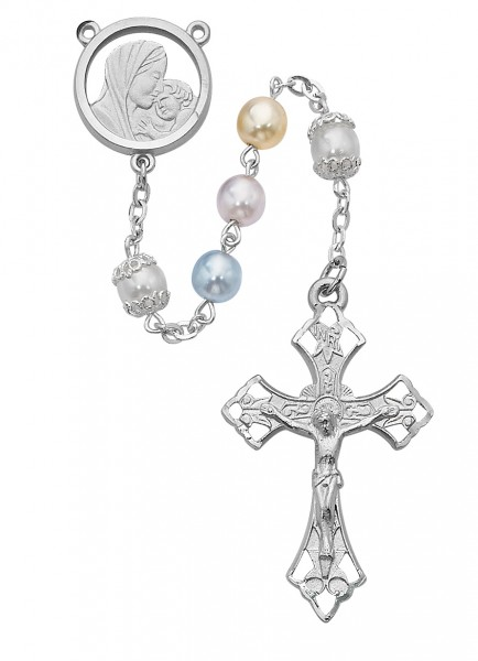 Rhodium Plated Multi-Colored Pearlized Bead Rosary - Pearl White