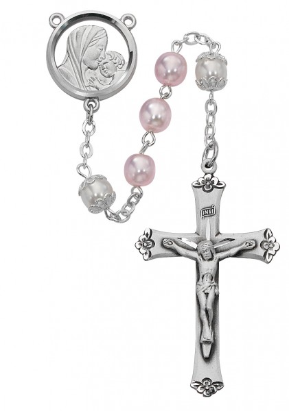 Rhodium Plated Pink and White Rosary - White