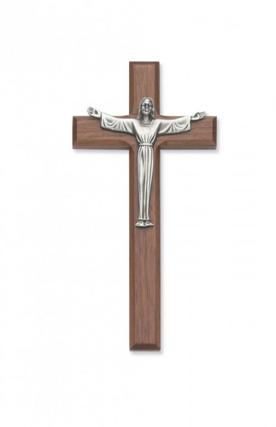 "Risen Christ Walnut Wall Crucifix - 7""H - Brown"