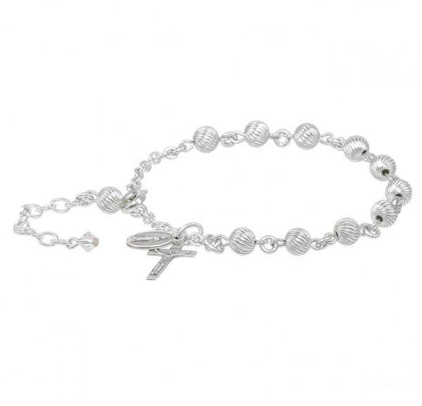 Rosary Bracelet - Sterling Silver with 6mm Sterling Beads - Sterling Silver