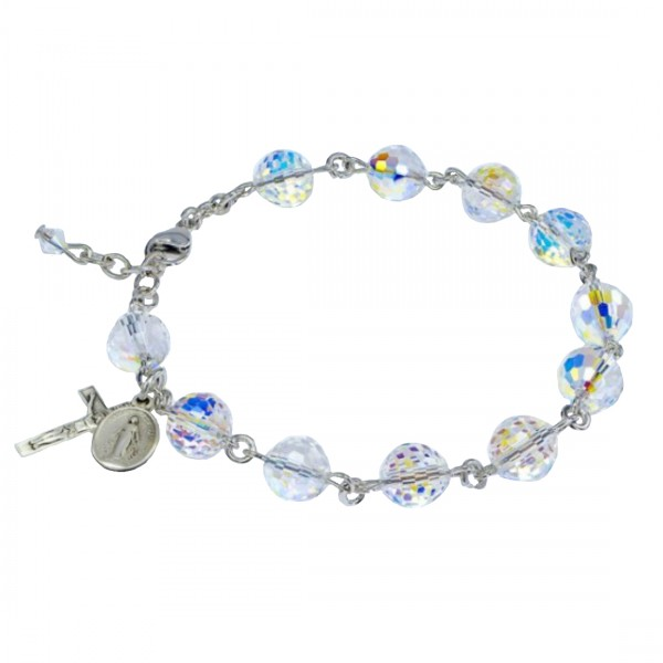Rosary Bracelet - Sterling Silver with 8mm Fireball Crystal Swarovski Beads - Crystal