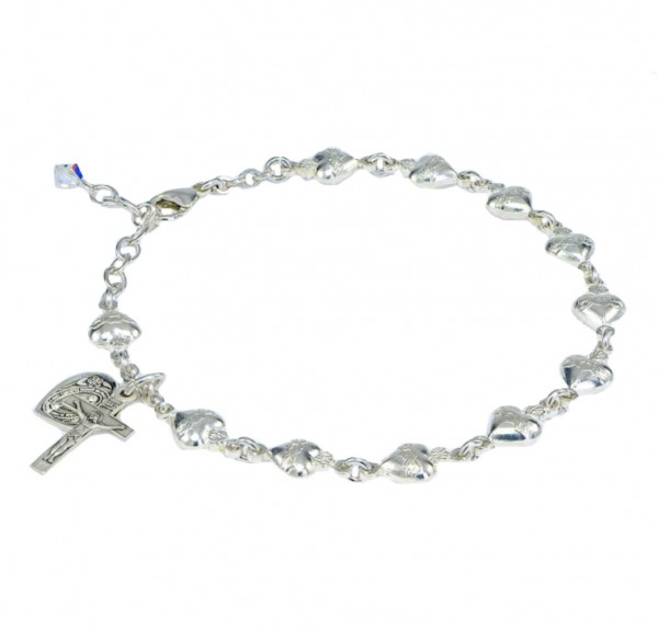 Rosary Bracelet - Sterling Silver with Sterling Sacred Hearts - Sterling Silver
