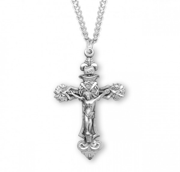 Roses and Thorns Men's Crucifix Necklace - Sterling Silver