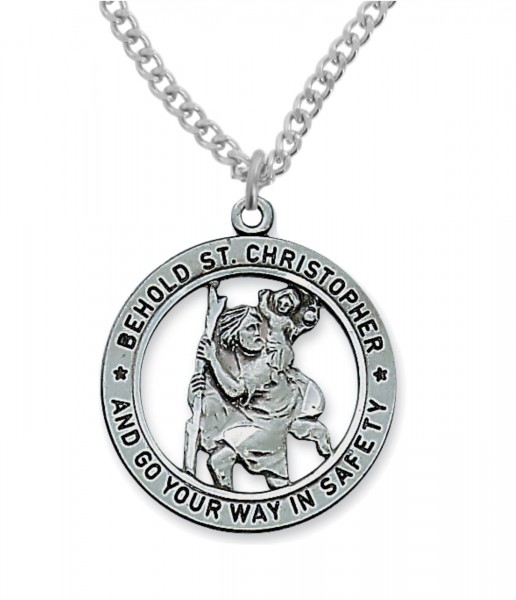 Round Cut-Out St. Christopher Medal - Pewter