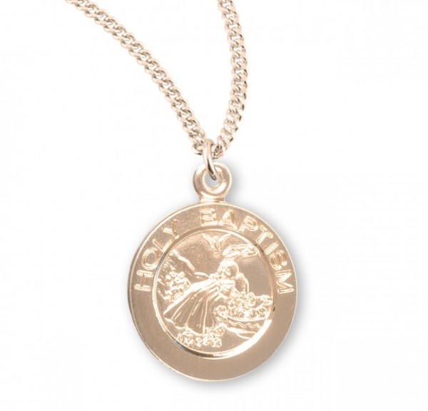 Round Holy Baptism Pendant with Chain - Gold Plated