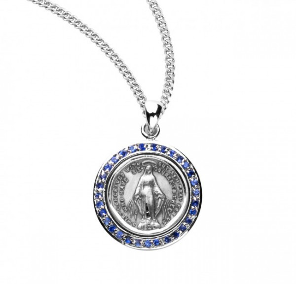 Round Miraculous Medal with Clear Crystals - Silver | Blue