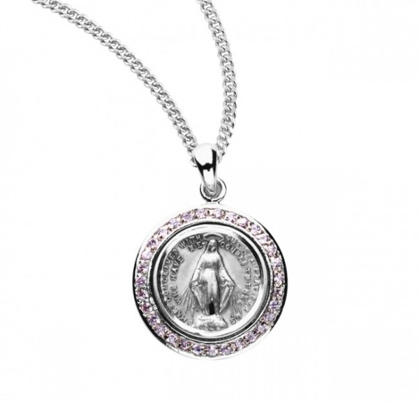 Round Miraculous Medal with Clear Crystals - Silver | Pink