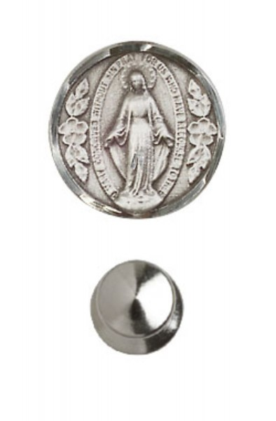 Round Miraculous Medal Lapel Pin - Sterling Silver