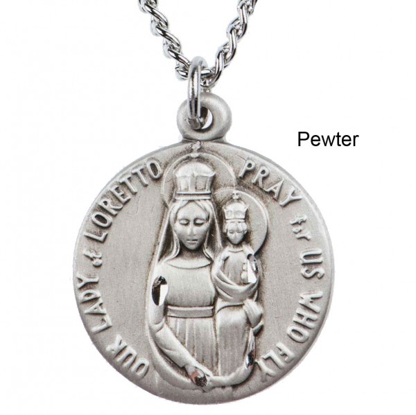"Round Our Lady of Loretto Dime Size Medal + 18"" Chain - Pewter"