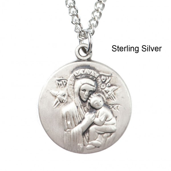 "Round Our Lady of Perpetual Help Dime Size Medal + 18"" Chain - Sterling Silver"