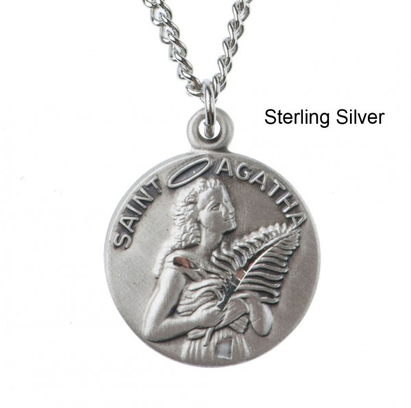 "Round St. Agatha Dime Size Medal + 18"" Chain - Sterling Silver"
