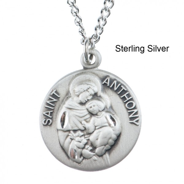 Round St. Anthony Dime Size Medal + 18 - Sterling Silver