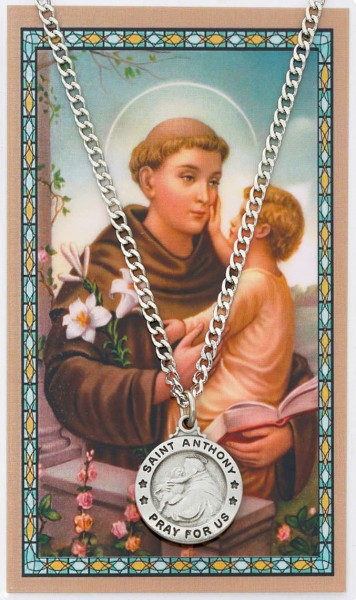 Round St. Anthony Medal with Prayer Card - Silver tone