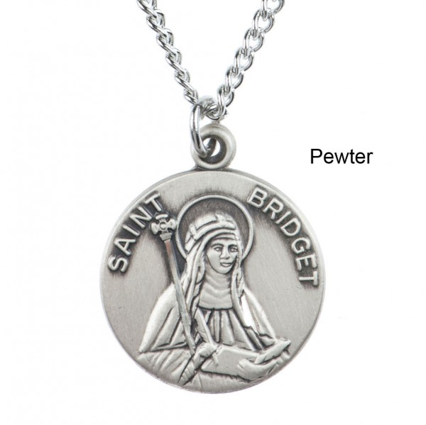 "Round St. Bridget Dime Size Medal + 18"" Chain - Pewter"