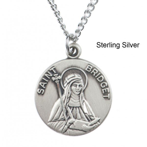 "Round St. Bridget Dime Size Medal + 18"" Chain - Sterling Silver"