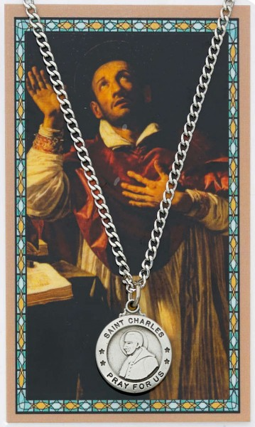 Round St. Charles Borromeo Medal with Prayer Card - Silver tone