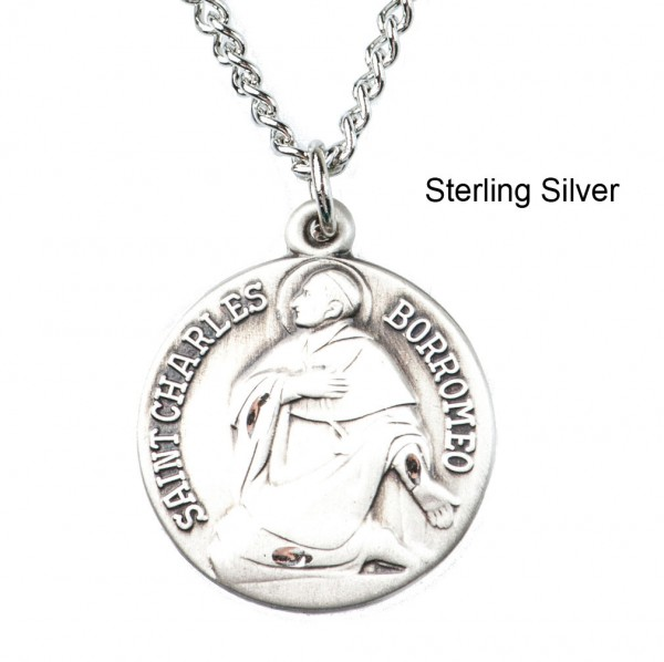"Round St. Charles Dime Size Medal + 18"" Chain - Sterling Silver"