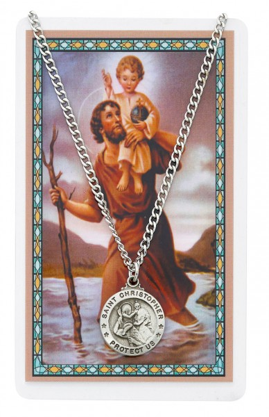 Round St. Christopher Medal with Prayer Card - Silver tone
