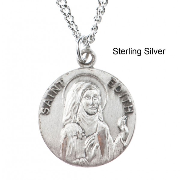 "Round St. Edith Dime Size Medal + 18"" Chain - Sterling Silver"