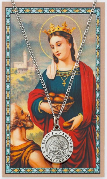 Round St. Elizabeth of Hungary Medal with Prayer Card - Silver tone