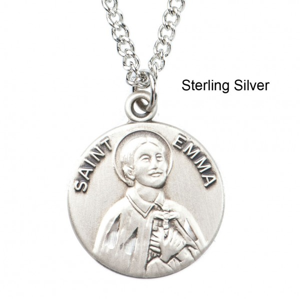 "Round St. Emma  Dime Size Medal + 18"" Chain - Sterling Silver"