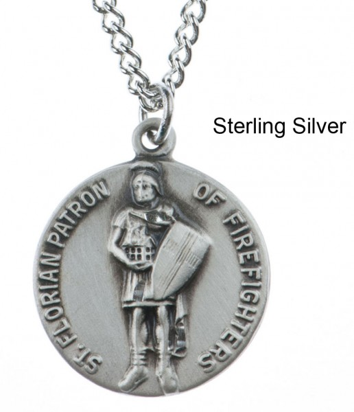 "Round St. Florian Dime Size Medal + 18"" Chain - Sterling Silver"