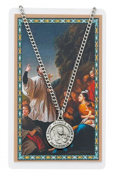 Round St. Francis Xavier Medal with Prayer Card - Silver tone