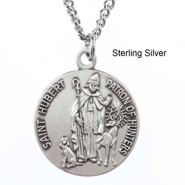 "Round St. Hubert Dime Size Medal + 18"" Chain - Sterling Silver"