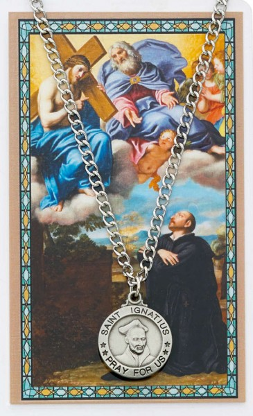 Round St. Ignatius of Loyola Medal with Prayer Card - Silver tone