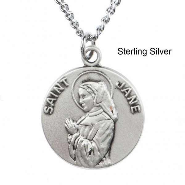 "Round St. Jane Dime Size Medal + 18"" Chain - Sterling Silver"
