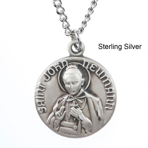 "Round St. John Neuman Dime Size Medal + 18"" Chain - Sterling Silver"