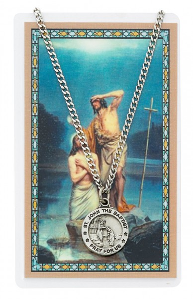 Round St. John The Baptist Medal with Prayer Card - Silver tone