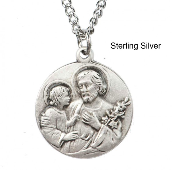 "Round St. Joseph Dime Size Medal + 18"" Chain - Sterling Silver"