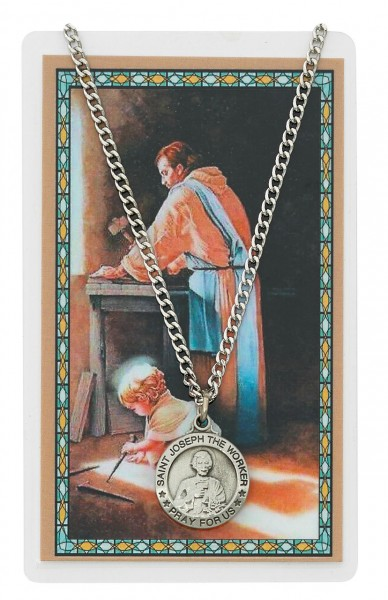 Round St. Joseph The Worker Medal and Prayer Card - Silver tone