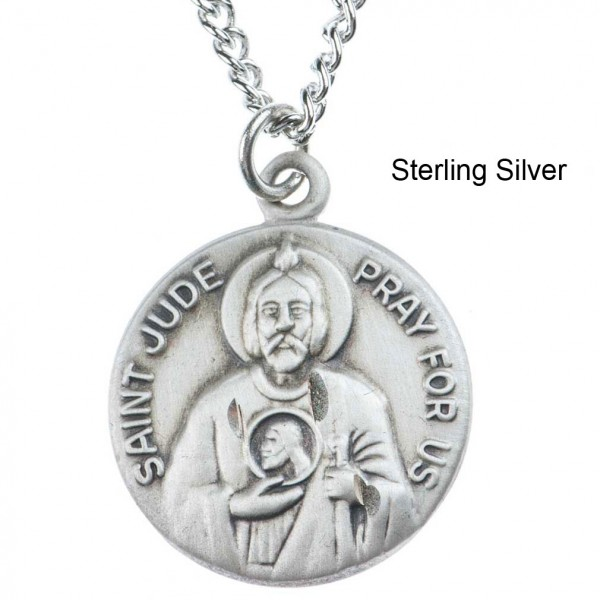 "Round St. Jude Dime Size Medal + 18"" Chain - Sterling Silver"