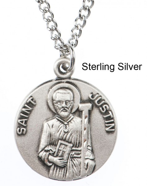 "Round St. Justin Dime Size Medal + 18"" Chain - Sterling Silver"