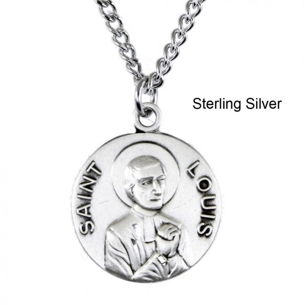 "Round St. Louis Dime Size Medal + 18"" Chain - Sterling Silver"