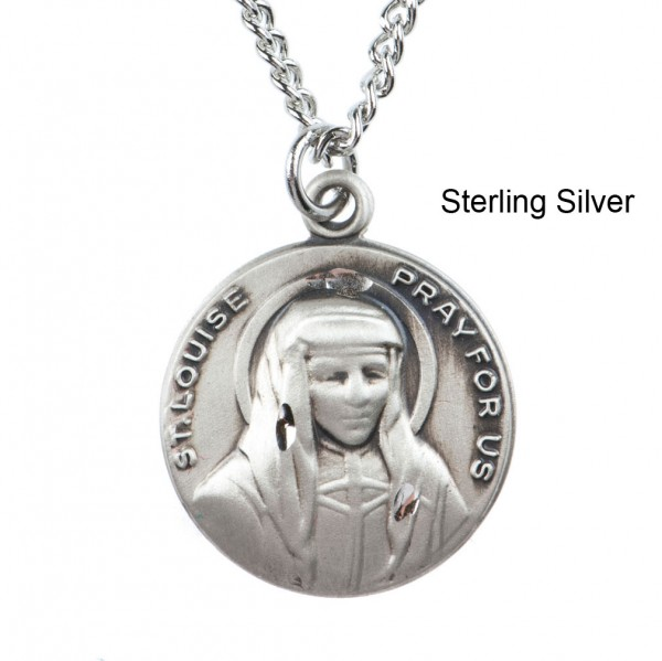 "Round St. Louise Dime Size Medal + 18"" Chain - Sterling Silver"