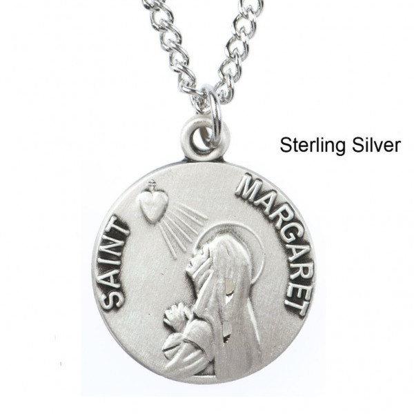 "Round St. Margaret Dime Size Medal + 18"" Chain - Sterling Silver"