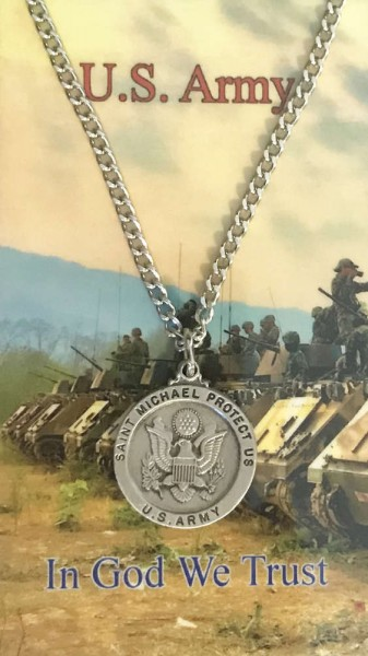 Round St. Michael Army Medal with Prayer Card - Silver tone