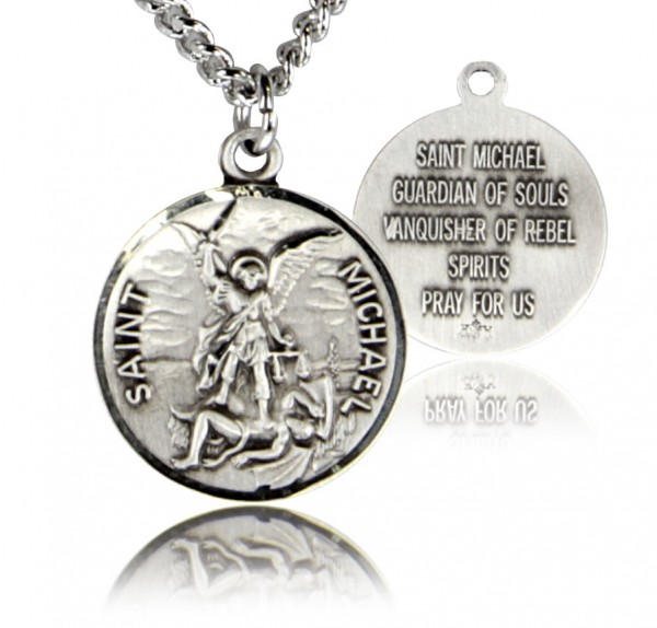 Men's Round St. Michael Medal - Sterling Silver